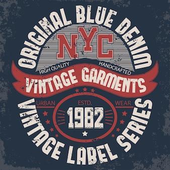 Tipografía de mezclilla, gráficos de camisetas de nueva york, estampado de sellos de ilustraciones. estampado de camiseta vintage wear