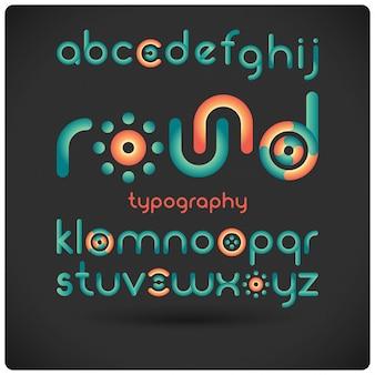 Tipografía moderna geométrica redonda