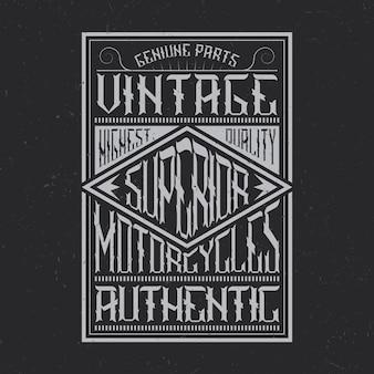 Tipografía de motocicletas vintage, gráficos de camisetas, diseño de emblemas y etiquetas