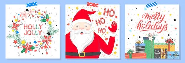 Tipografía de navidad y año nuevo. conjunto de tarjetas de vacaciones con saludos, santa, cajas de regalo, corona, copos de nieve y estrellas.