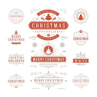 Tipografía navideña ornamentada etiquetas e insignias