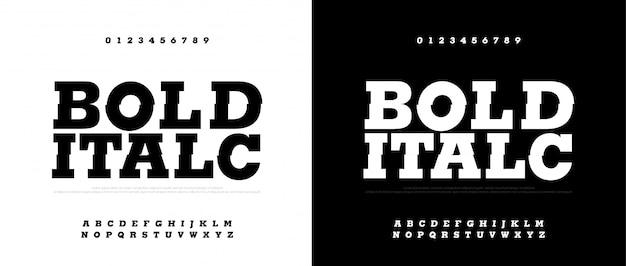 Tipografía negrita cursiva conjunto de fuentes. fuentes modernas en negrita