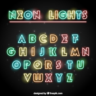 Tipografía de neón de colores