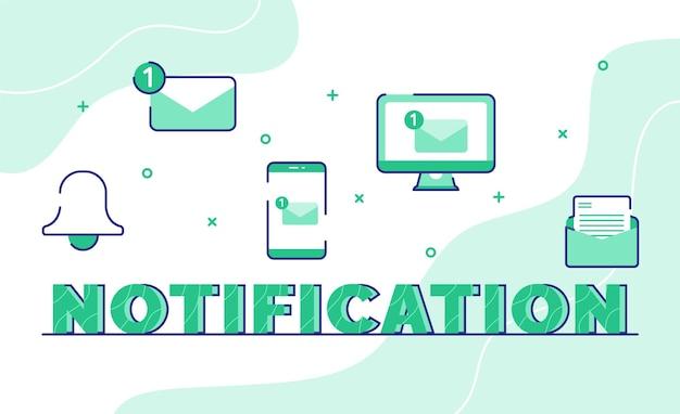 Tipografía de notificación, arte de la palabra, fondo del icono, campana, mensaje de correo electrónico, teléfono inteligente, computadora con estilo de contorno