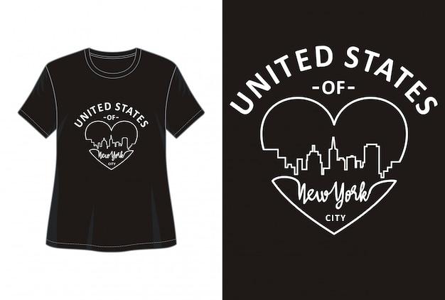 Tipografía de nueva york para imprimir chica camiseta