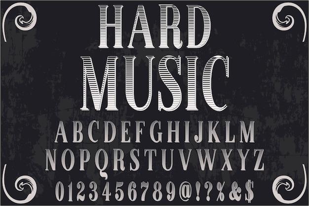 Tipografía retro diseño de etiquetas música difícil