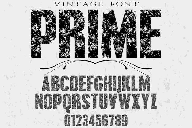 Tipografía retro diseño de etiquetas prime