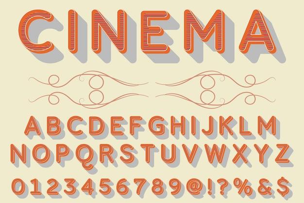 Tipografía retro etiqueta diseño cine