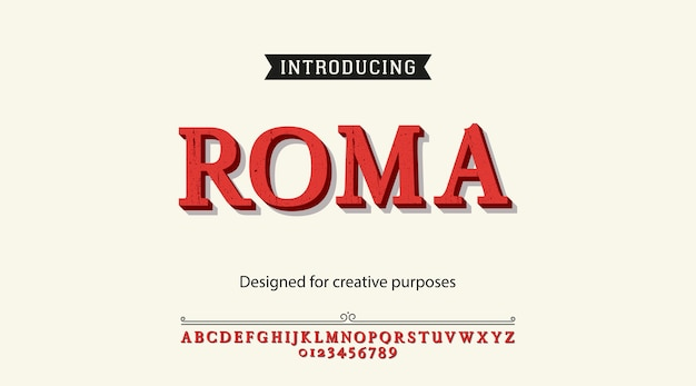 Tipografía roma. diseño tipográfico