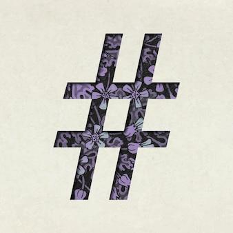 Tipografía de símbolo hashtag púrpura vintage