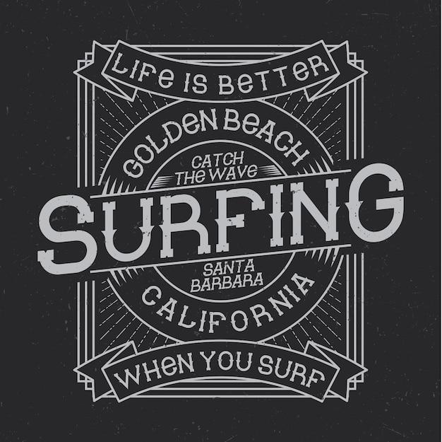 Tipografía de surf, gráficos de camisetas, diseño de emblemas y etiquetas