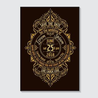 Tipografía de tarjeta de invitación de boda y diseño caligráfico