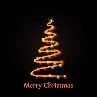 Tipografía de tarjeta de saludos de navidad con árbol de navidad