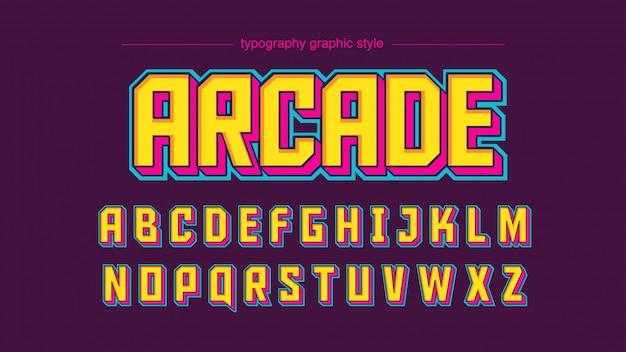 Tipografía techno cuadrada moderna pantalla rosa amarillo