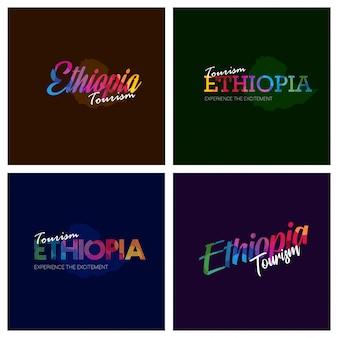 Tipografía de turismo etiopía logo conjunto de antecedentes