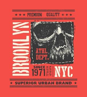 Tipografía urbana vintage con calavera, gráficos de camisetas, ilustración de composición