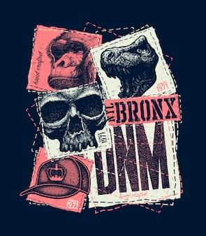 Tipografía urbana vintage, gráficos de camisetas, ilustración de composición