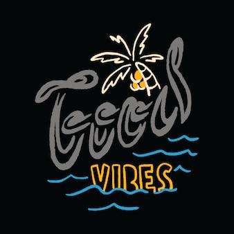 Tipografía vacaciones de verano playa mar ilustración arte camiseta
