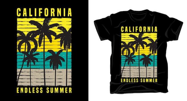 Tipografía de verano sin fin de california con diseño de camiseta de palmeras