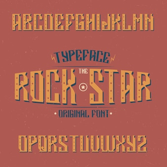 Tipografía vintage llamada rock star. buena fuente para usar en cualquier logo vintage.