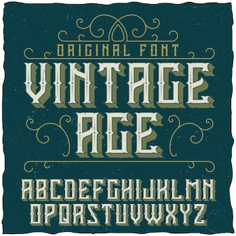 Tipografía vintage llamada vintage age