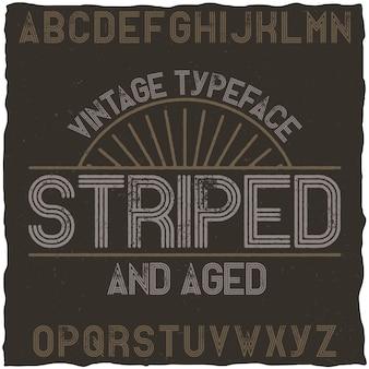 Tipografía vintage a rayas.