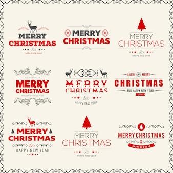 Tipografías creativas coloreadas de la navidad en fondo liso