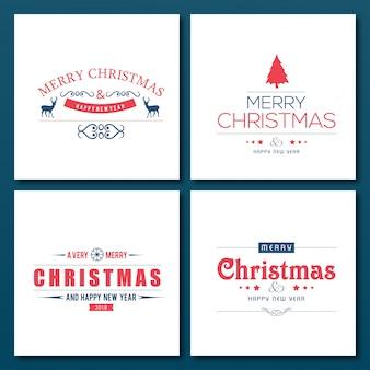 Tipografías creativas de navidad en cajas blancas sobre fondo azul