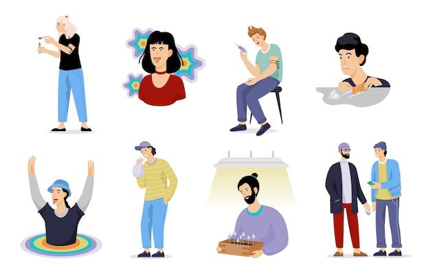 Tipos de adicción a las drogas. peligro para el concepto de salud. adicto a los narcóticos. ilustración