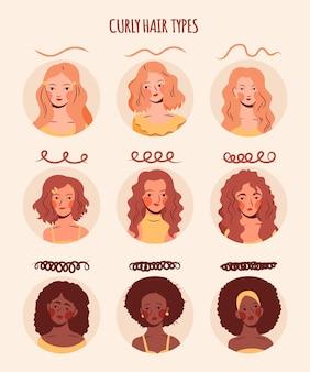 Tipos de cabello rizado dibujados a mano con mujeres. vector gratuito