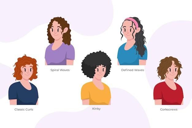 Tipos de cabello rizado dibujados a mano plana con mujeres