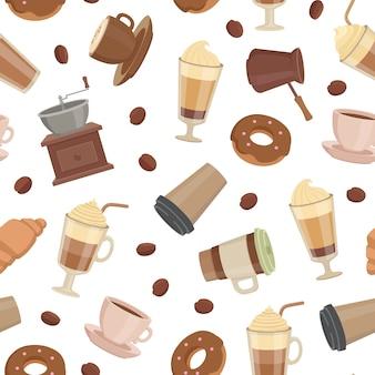Tipos de café de dibujos animados patrón o ilustración