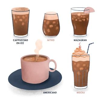 Tipos de café frío y cubitos de hielo