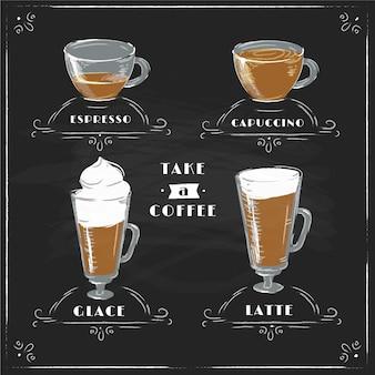Tipos de café de pizarra vintage en tazas
