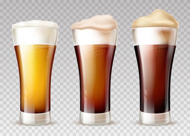 Tipos de cerveza vertidos en vasos realistas.