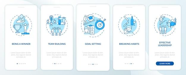 Tipos de contenido motivacional que incorporan la pantalla de la página de la aplicación móvil con conceptos. aprendiendo a romper hábitos a través de instrucciones gráficas de 5 pasos. plantilla de interfaz de usuario con ilustraciones en color rgb