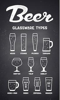 Tipos de cristalería de cerveza. póster o pancarta con diferentes tipos.