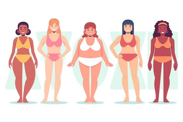 Tipos dibujados a mano de formas del cuerpo femenino