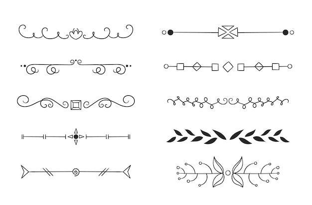 Tipos dibujados a mano de marcos y separadores.
