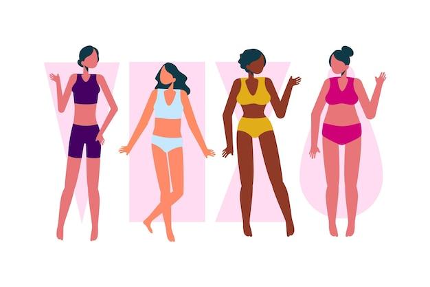 Tipos dibujados a mano plana de formas del cuerpo femenino
