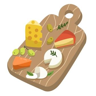 Tipos dibujados de queso en la ilustración de tablero de madera