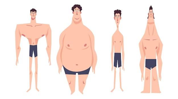 Tipos de dibujos animados de formas del cuerpo masculino