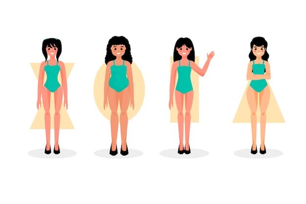 Tipos de dibujos animados de formas de cuerpo de mujer