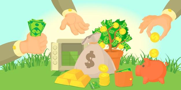 Tipos de dinero concepto de banner horizontal