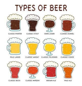 Tipos divertidos de conjunto de paquetes de personajes de cerveza.