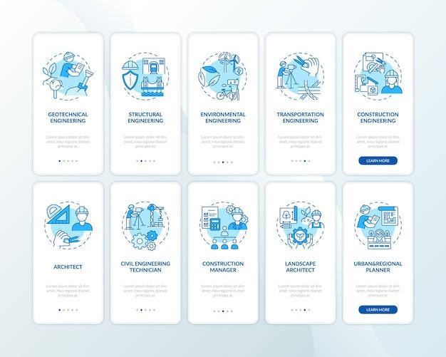 Tipos de experiencia en ingeniería pantalla de página de aplicación móvil de incorporación azul con conjunto de conceptos