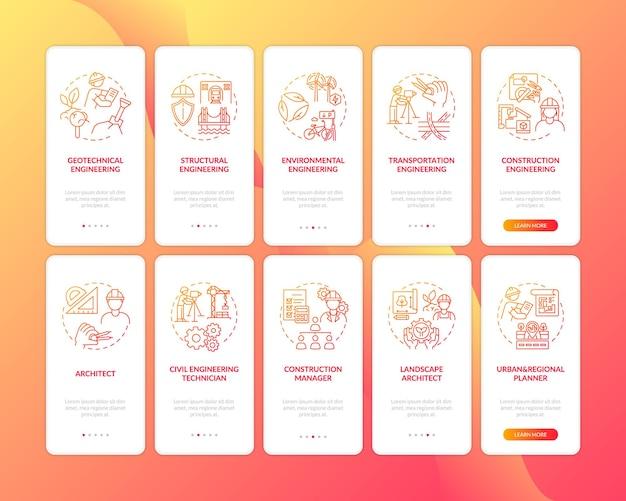 Tipos de experiencia en ingeniería pantalla de página de aplicación móvil de incorporación roja con conjunto de conceptos