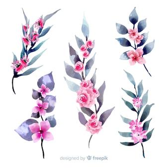Tipos de follaje y flora en tonos rosados.
