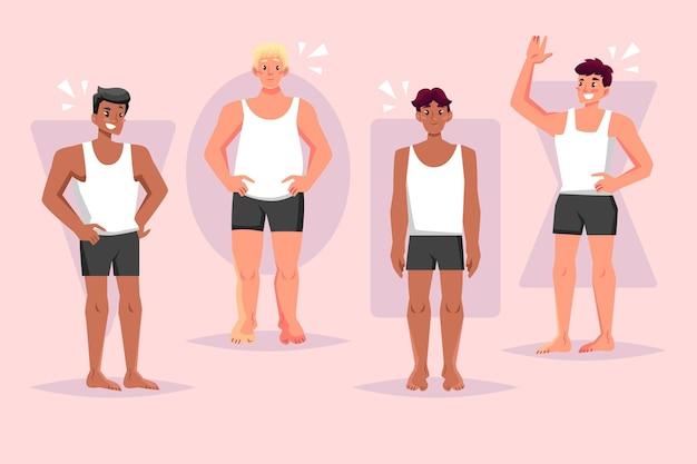 Tipos de formas corporales masculinas dibujadas a mano