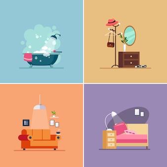 Tipos de habitaciones de diseño de interiores. conjunto de ilustraciones
